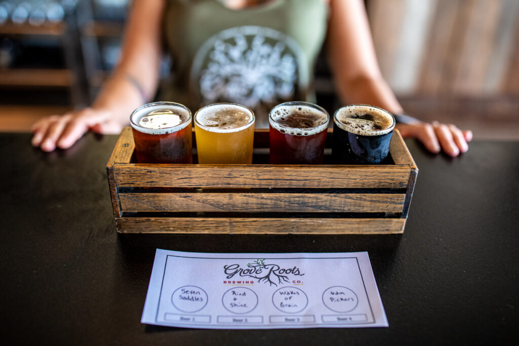 flight of beer at Grove Roots