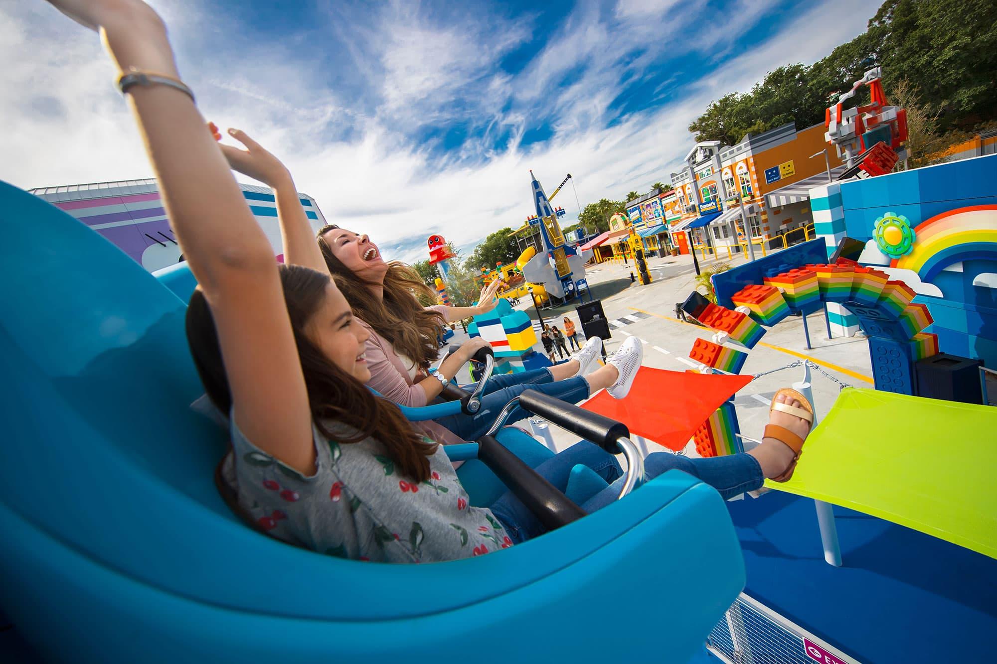 LEGO Movie World Unikitty's Disco Drop ride at LEGOLAND Florida Resort in Winter Haven, FL