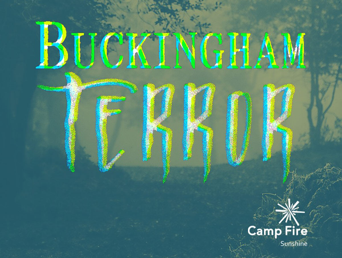 Forest background with Buckingham Terror logo text overlay