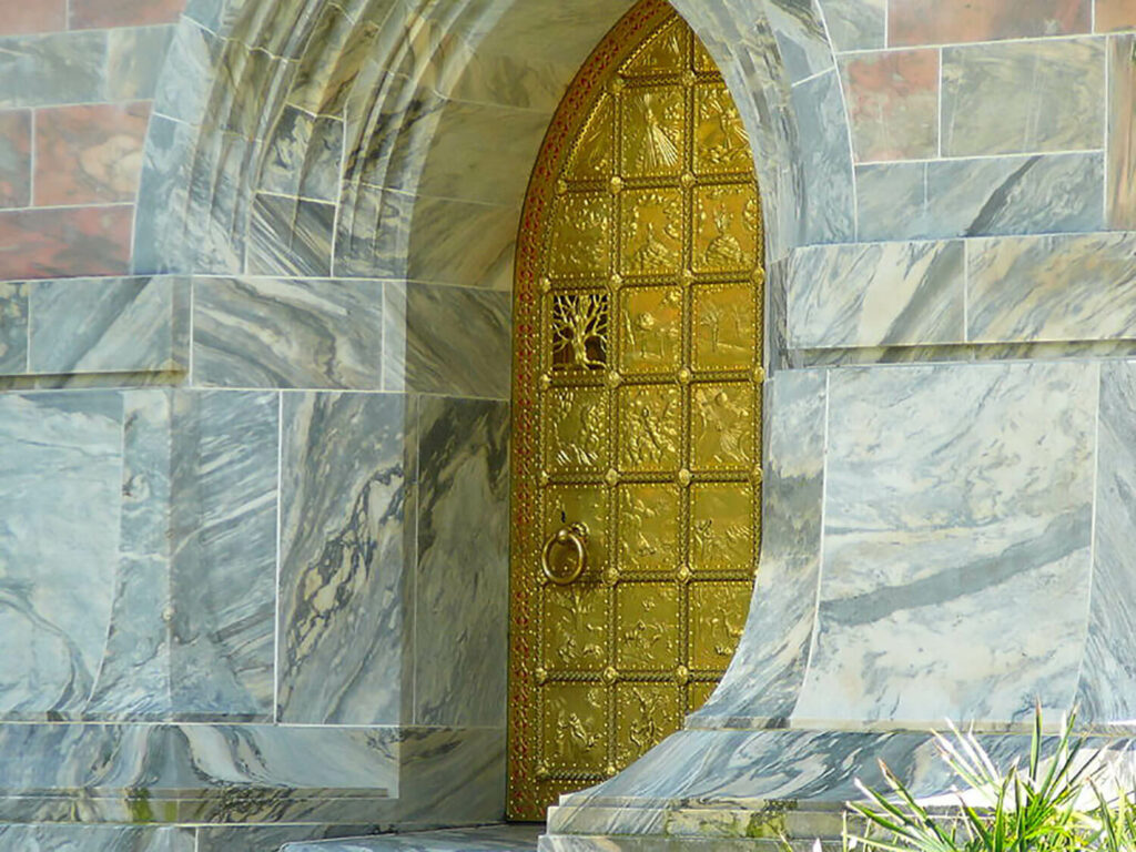 The Great Brass Door is the entrance to Bok Tower Garden's carillon tower.