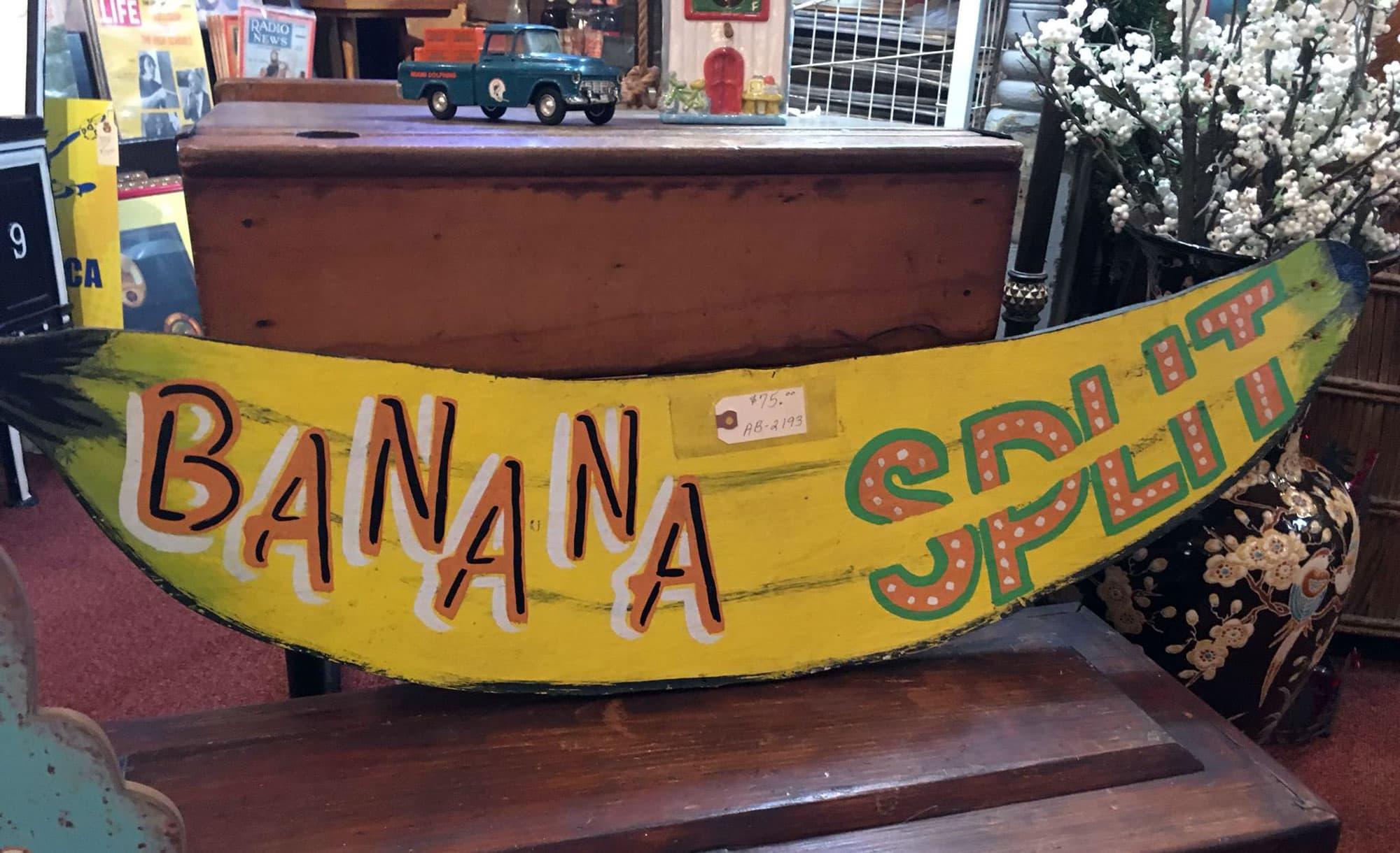 Banana split sign on wooden antique furniture at Biggars Antiques in Lake Alfred, FL