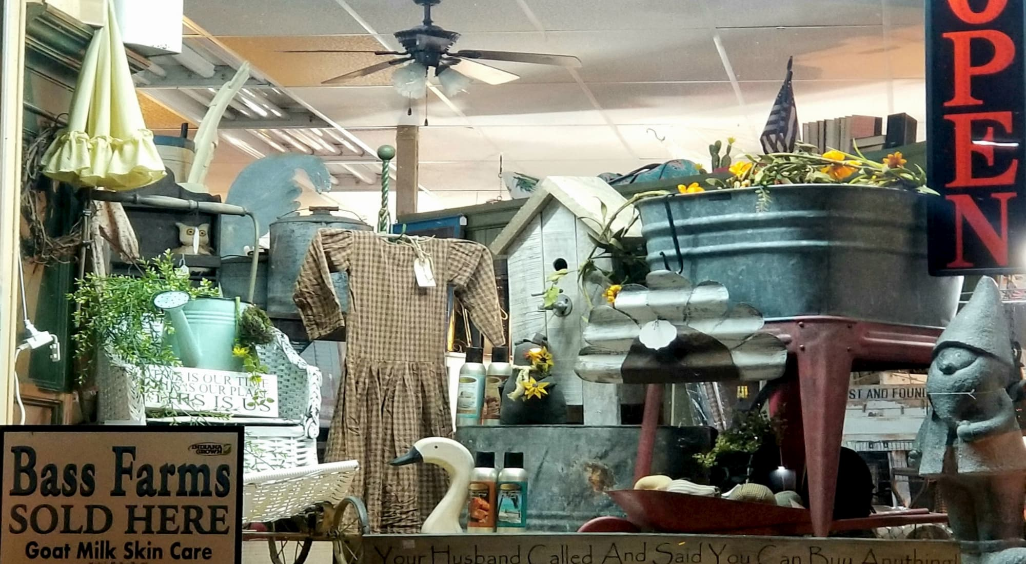 housewares, signs, antiques and a dress at Country Primitives Vintage in Winter Haven, FL