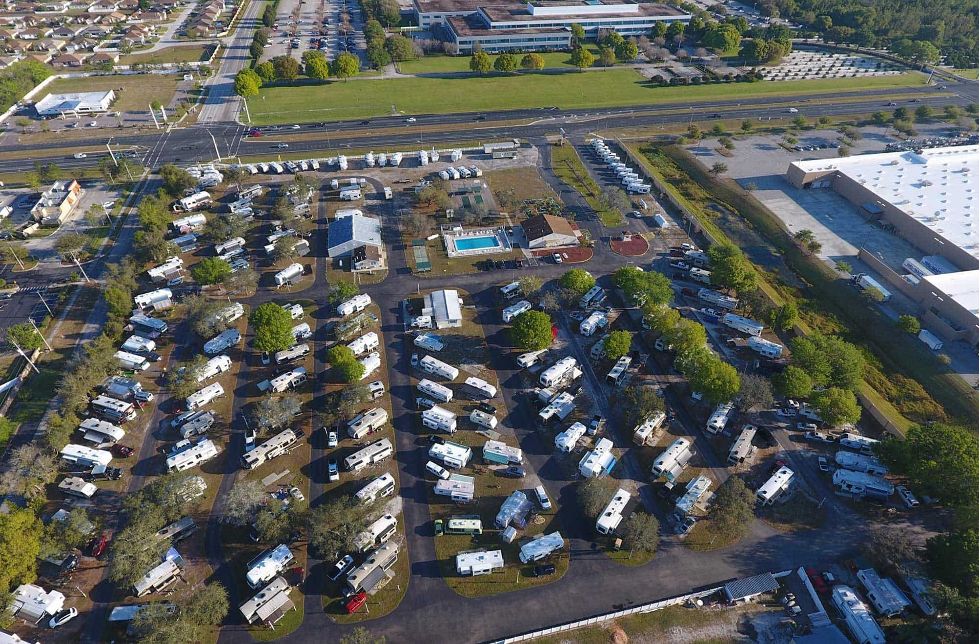 aerial view of Cypress Campground RV Park in Winter Haven, FL