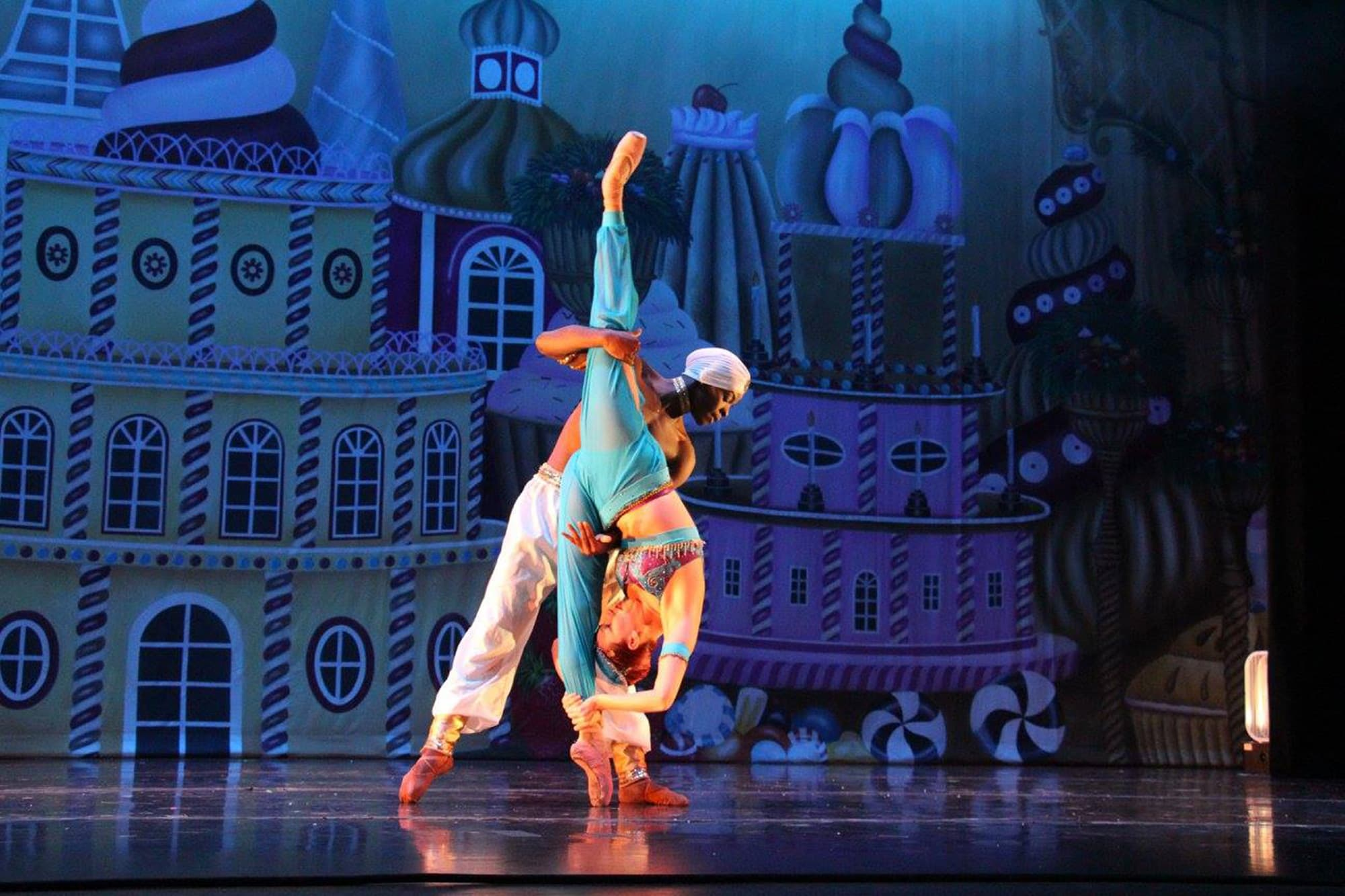 male and female dancers on stage during Florida Dance Theatre performance in Lakeland, FL