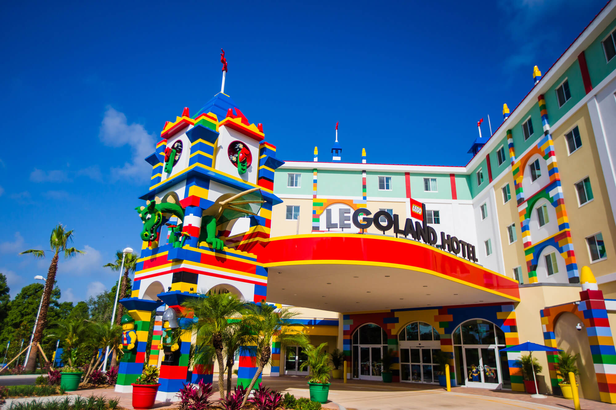 Exterior and entrance of LEGOLAND Hotel at LEGOLAND Florida Resort in Winter Haven, FL