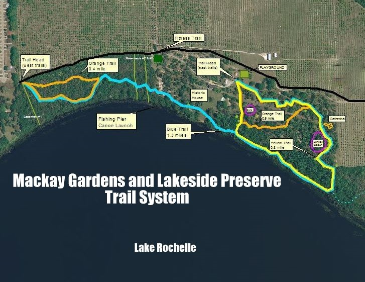 trail map for Mackay Gardens in Lake Alfred