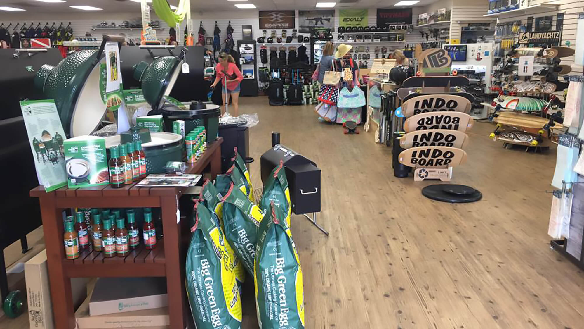retail floor at Off the Wall Adventures. Grills, indo boards, skate boards and more