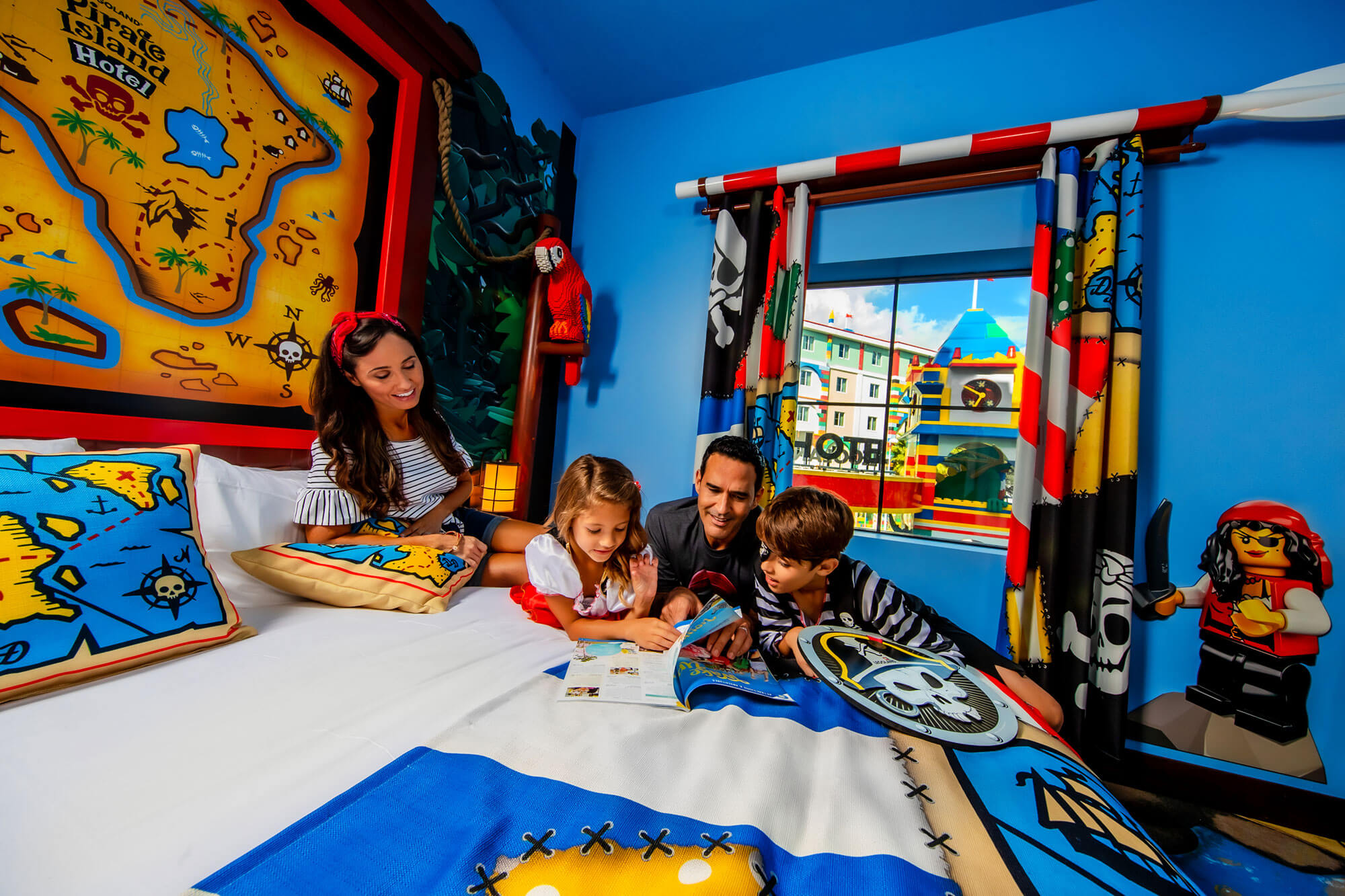 Family in guest Pirate Island Hotel guest room at LEGOLAND Florida Resort in Winter Haven, FL