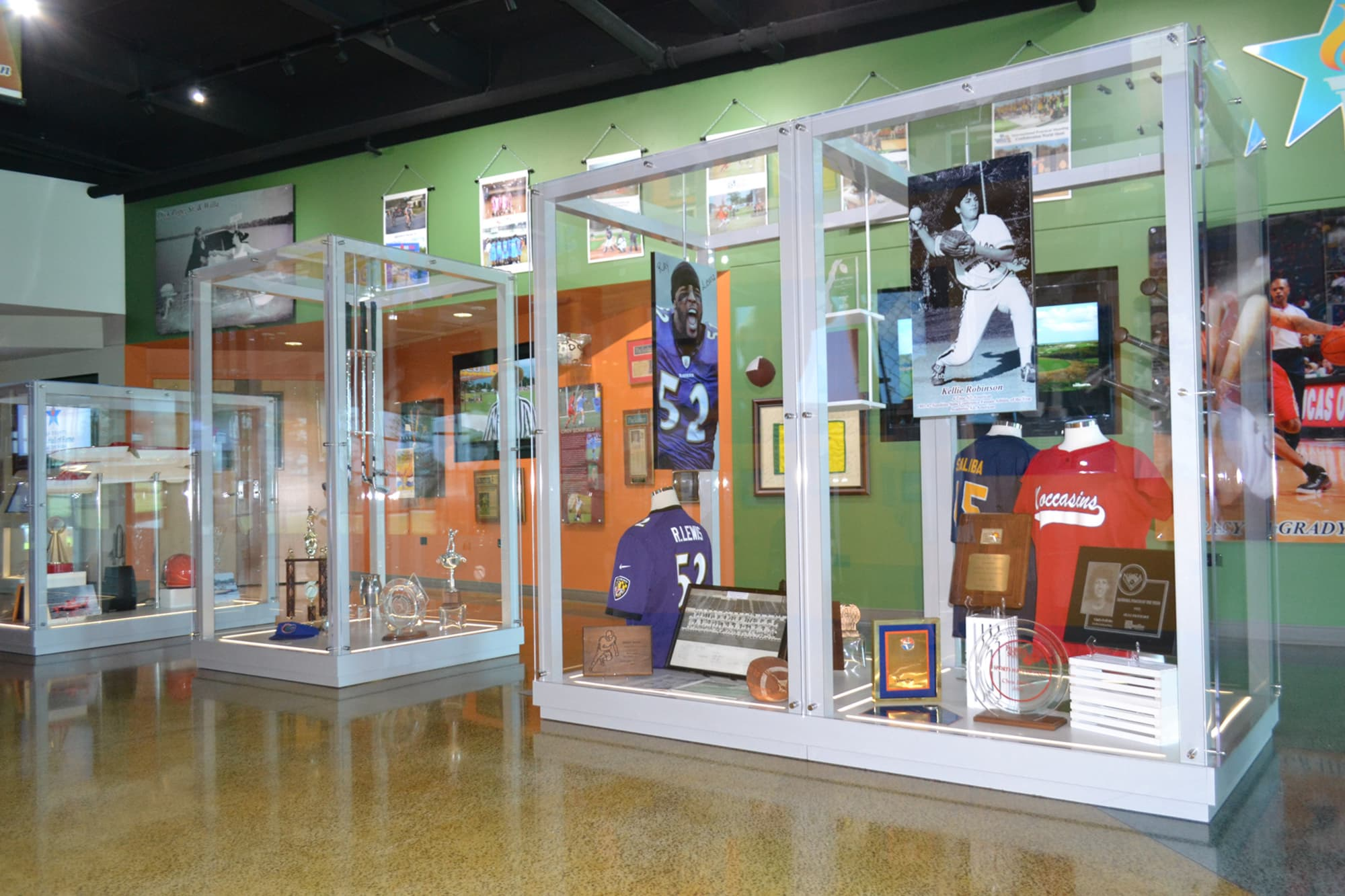 Sports memorabilia and exhibits inside Polk County Sports Hall of Fame in Auburndale, FL
