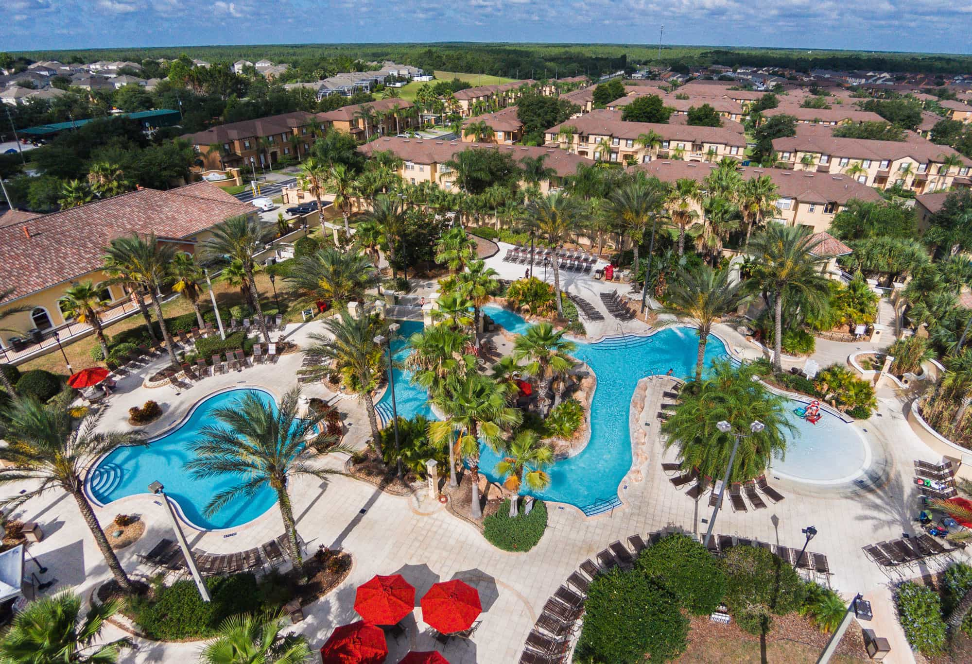 Water park area and townhouses at Regal Palms Resort in Davenport, FL