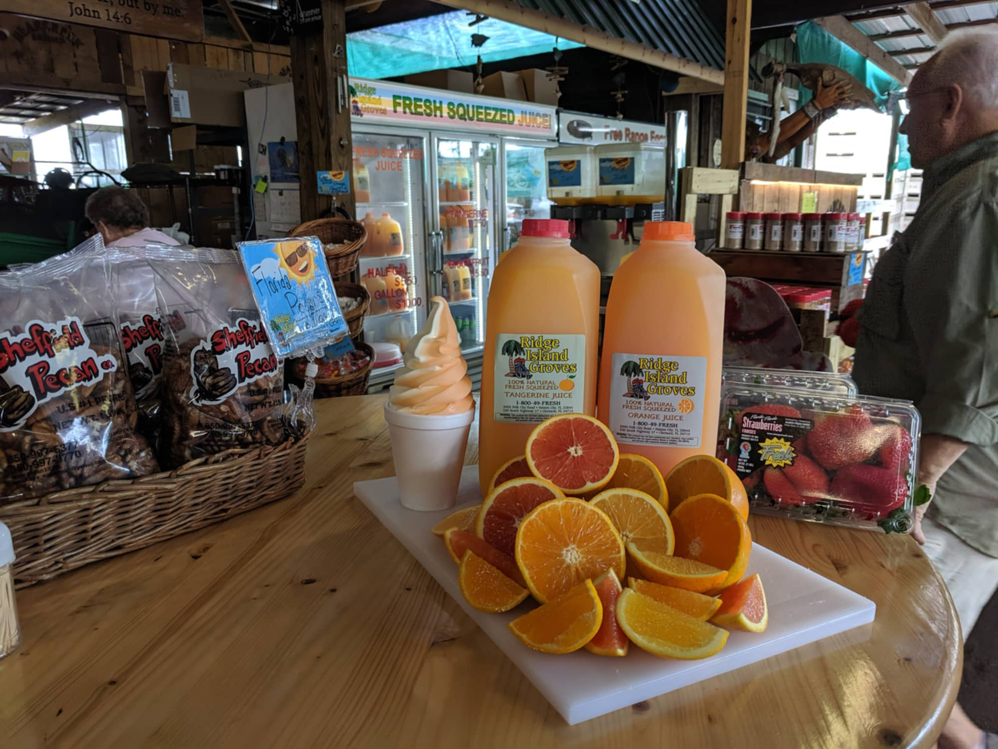 Soft serve ice cream, orange and tangerine juice, pecans, oranges and strawberries at Ridge Island Groves. Florida Citrus Makes a Great Christmas Gift