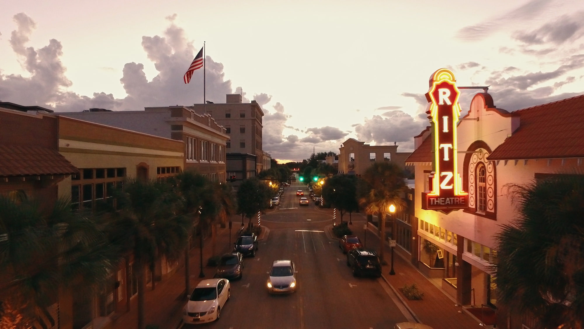 Aerial view of Central Avenue and lighted Ritz Theatre sign in Winter Haven, FL