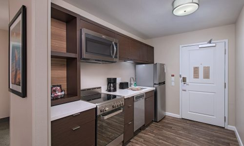 Kitchen area of suite at TownePlace Suites Lakeland