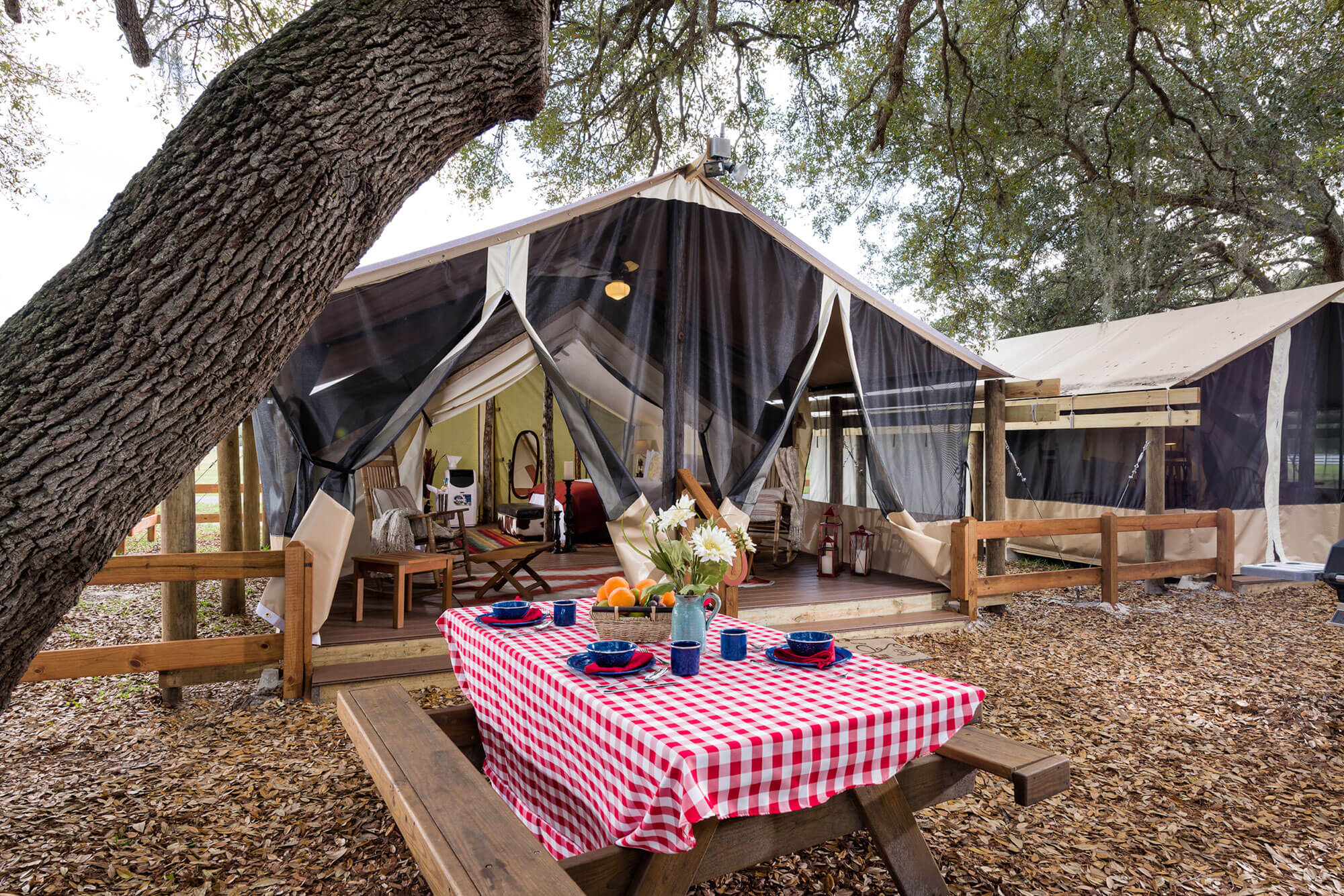Glamping Tent and common area at Westgate River Ranch Resort & Rodeo near Lake Wales FL