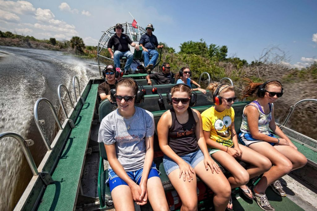 large group on airboat tour on Lake Kissimmee at Westgate River Ranch Resort & Marina