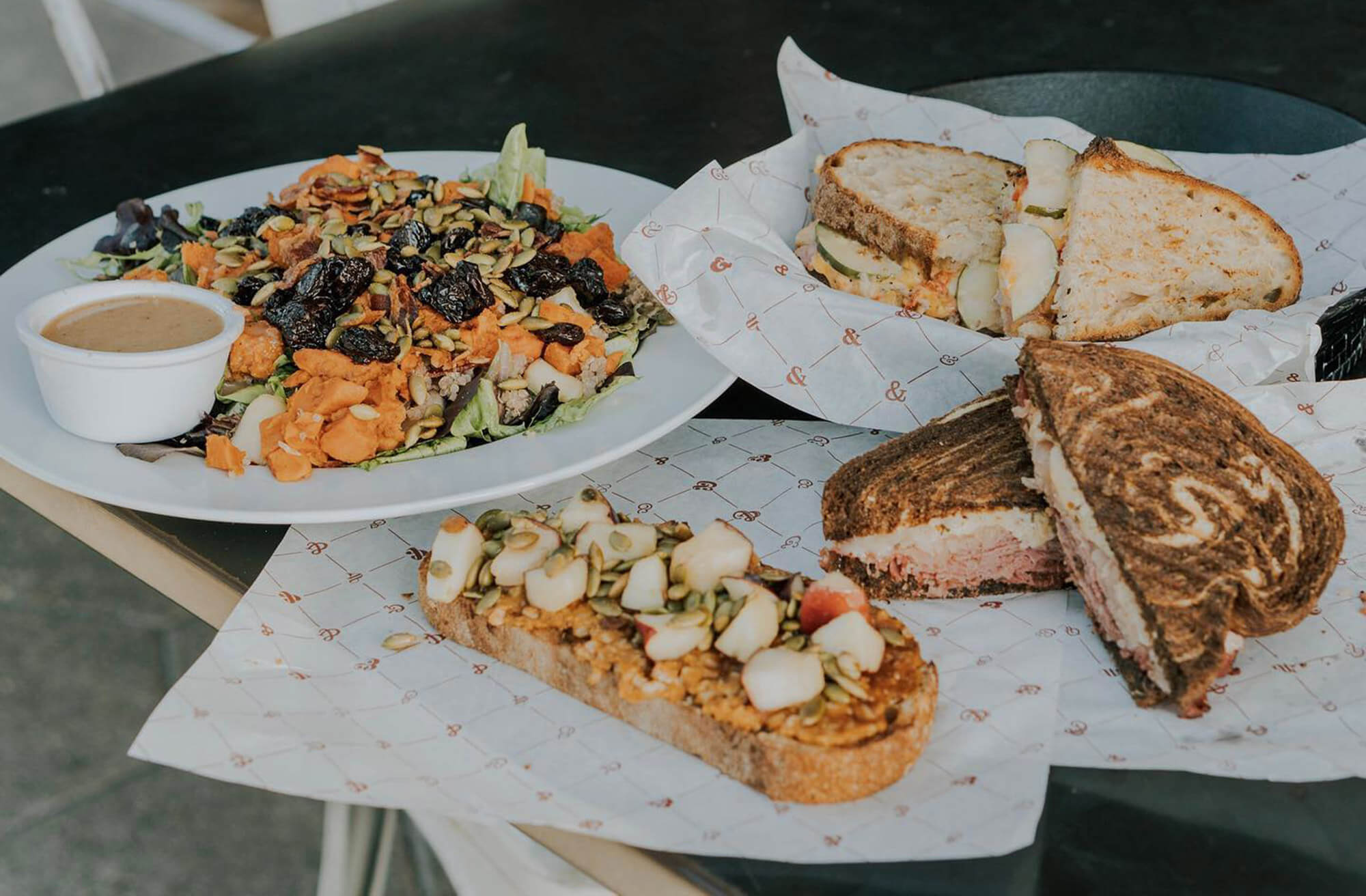 salads and sandwiches at Black & Brew Coffee House Bistro in Lakeland, FL