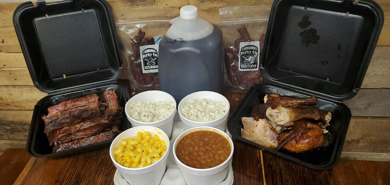 To go order of Family Pack for 6 from Blackburn's BBQ in Eagle Lake.