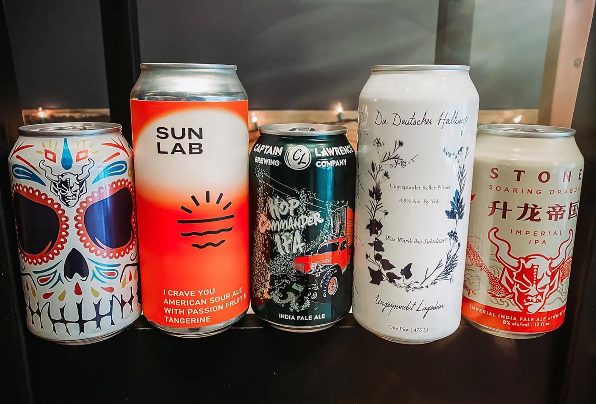 5 cans of beer available at Craft + Kitchen in Lakeland, FL