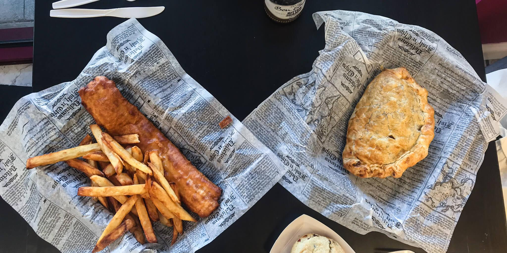 fish and chips and a meat pie from Proper Pie Company in Davenport, FL