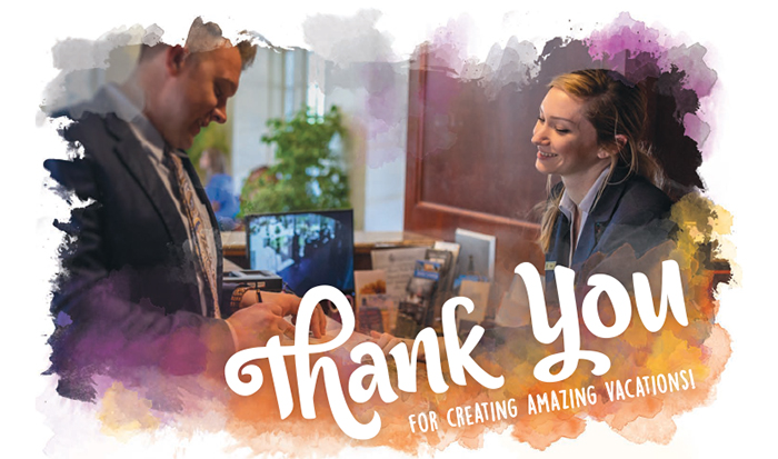 photo of guest and front desk manager with Thank You graphic overlay