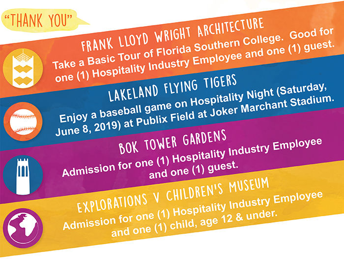 colorful graphic showing options for Polk County tourism week offers for hospitality industry employees