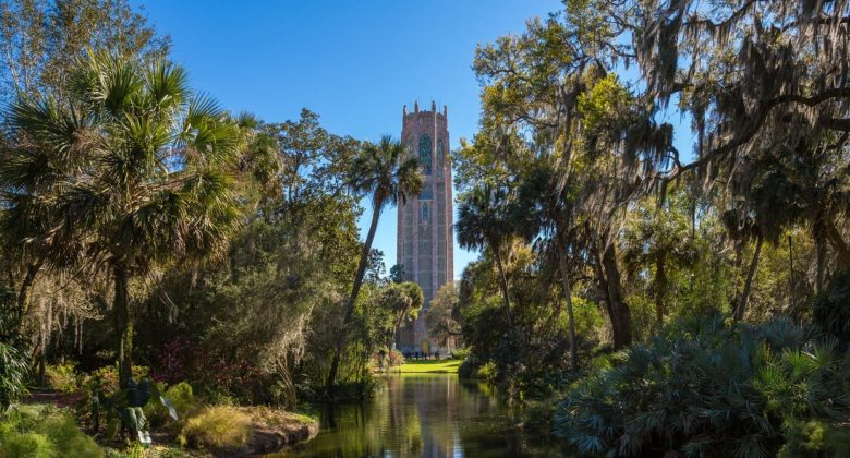 Carillon tower at Bok Tower Gardens in Lake Wales, FL Web Conference Meeting Backgrounds