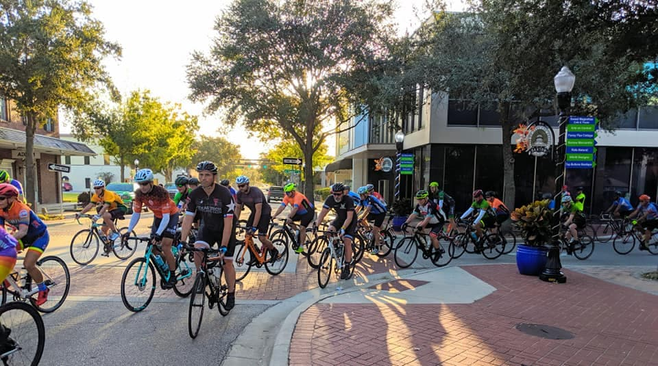 cyclists in downtown Bartow, FL during Bloomin Bike Ride