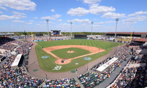 Aerial view of Publix Field at Joker Marchant Stadium during a Detroit Tigers Spring Training game in Lakeland, FL