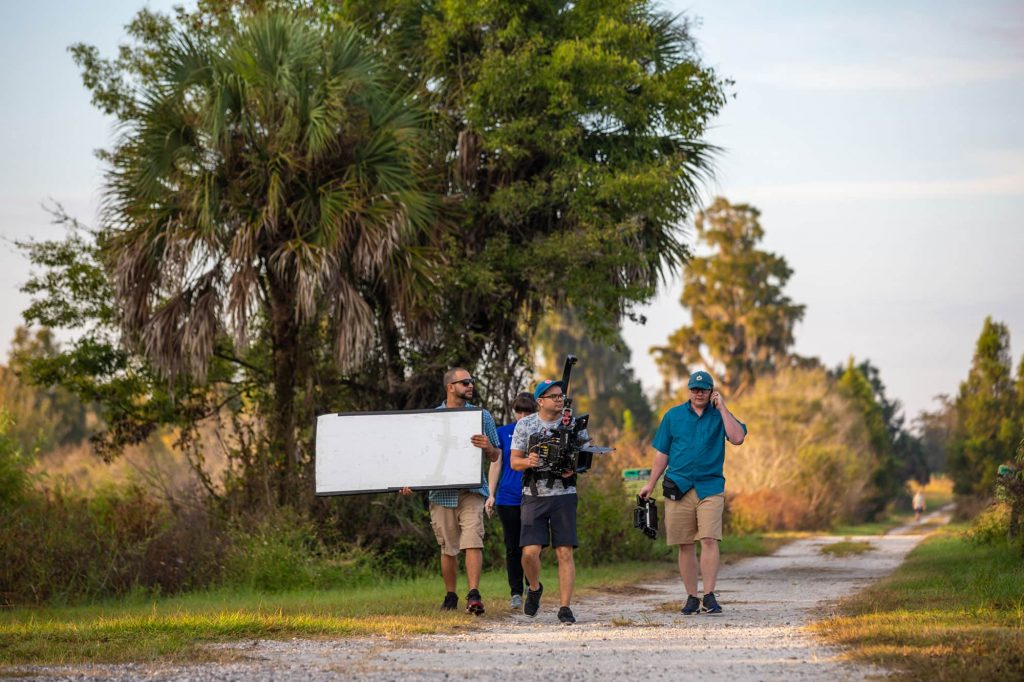 Indie Atlantic film crew on a nature path at Circle B Bar Reserve in Lakeland, FL