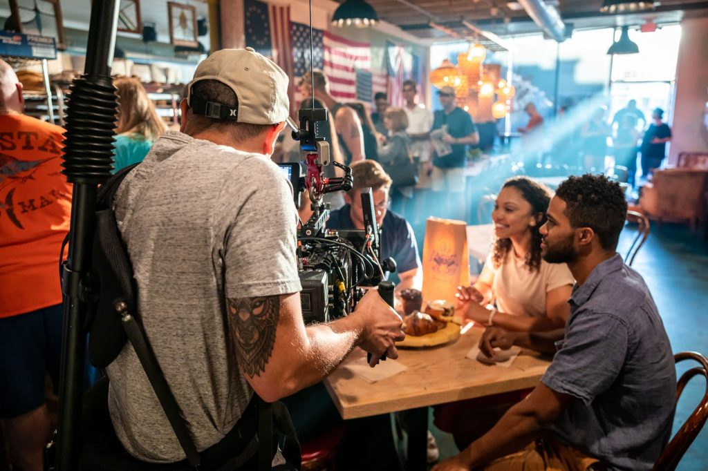 Indie Atlantic filming 2 couples eating at Born & Bread Bakehouse in Lakeland, FL