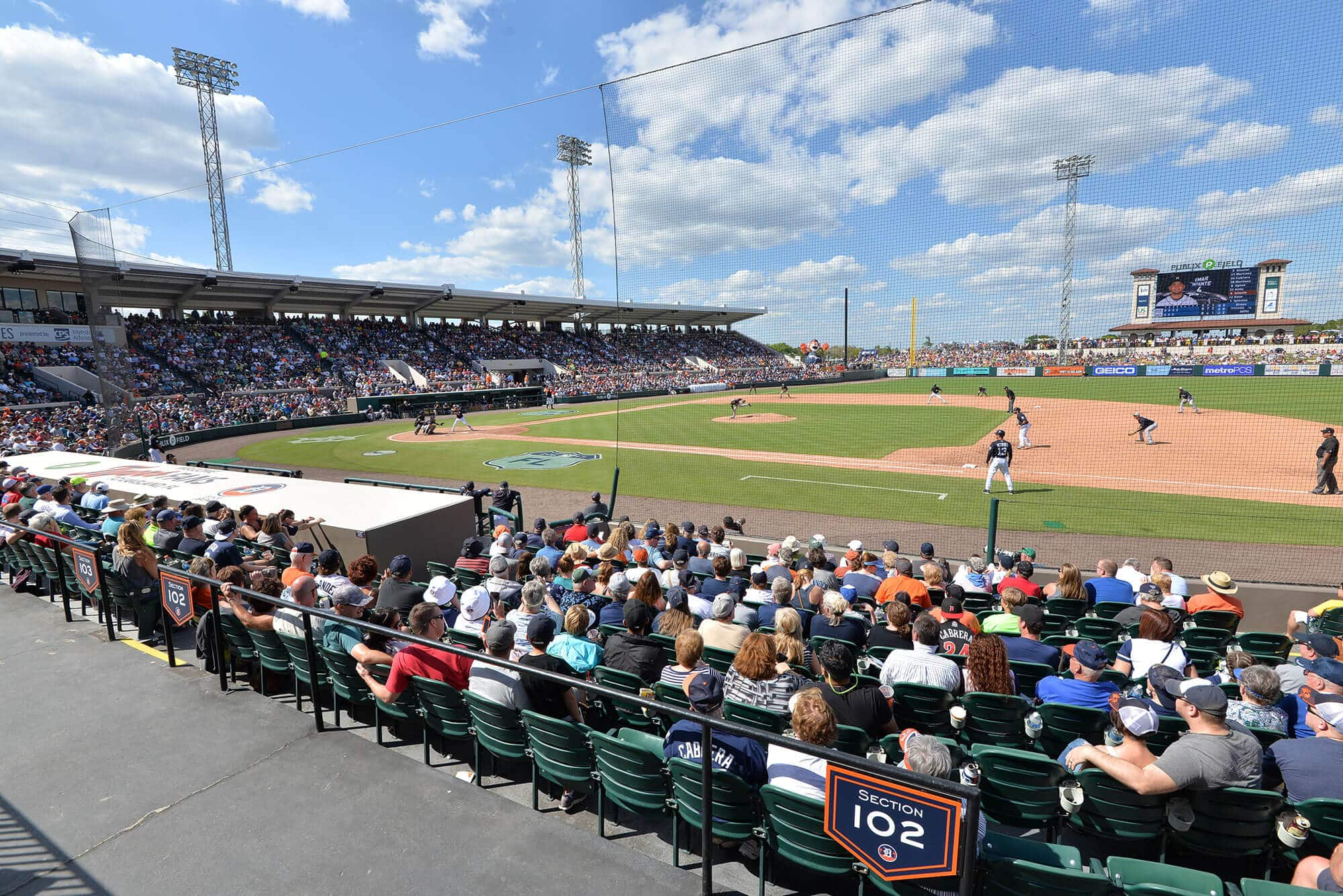 crowd during baseball game at Publix Field at Joker Marchant Stadium in Lakeland, FL