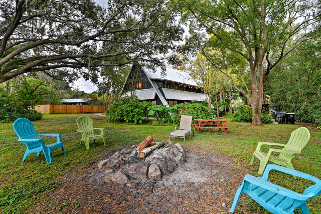 Chic A-Frame with Fire Pit on Property Lakeland Airbnb