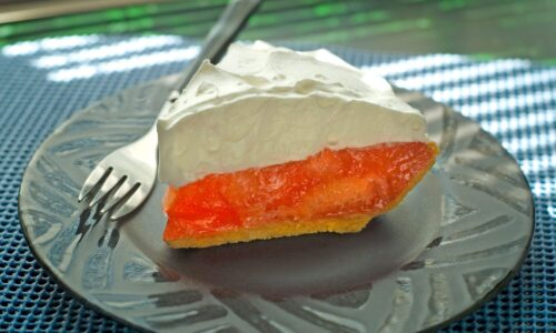 slice of Mary Lang's grapefruit pie at Taste of Florida Cafe in Lake Alfred, FL