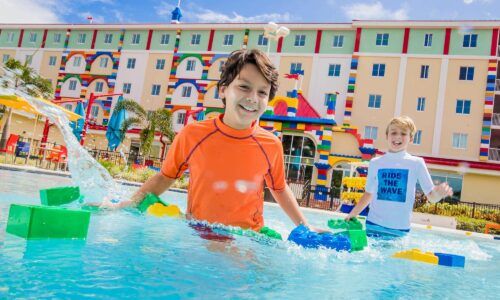 2 boys in pool at LEGOLAND Hotel in Winter Haven, FL
