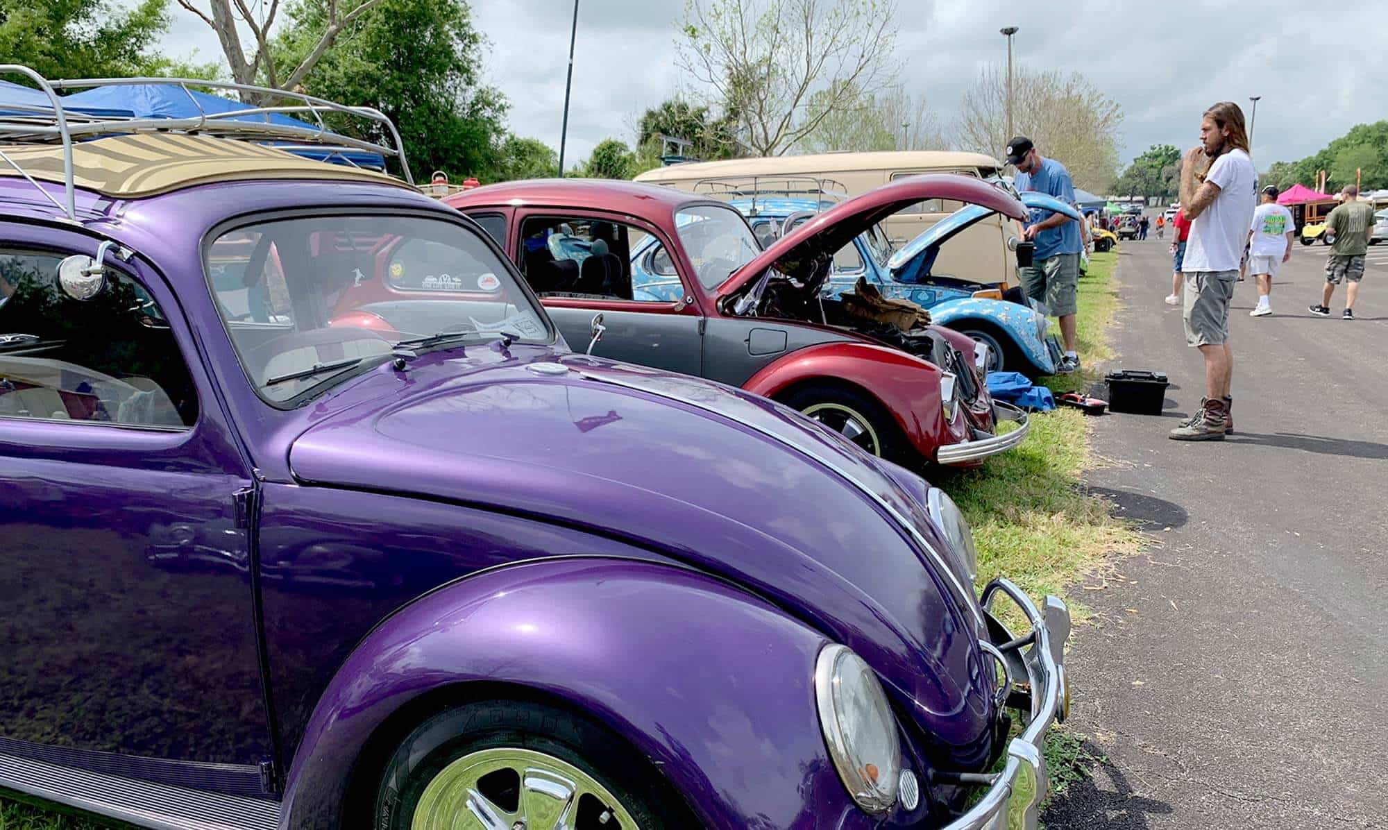 row of antique Volkswagen Beetles and people looking at the cars