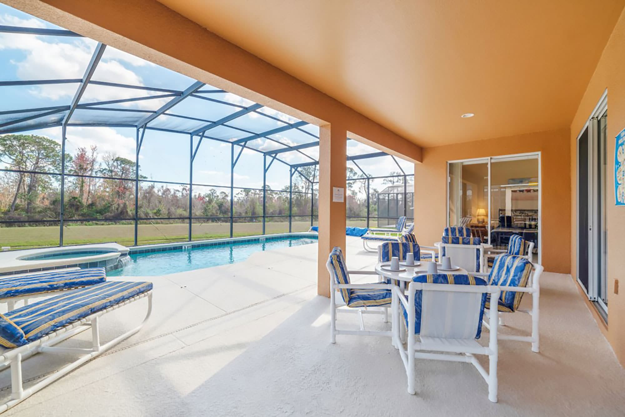 patio and pool area at Alpha Vacations rental in Davenport