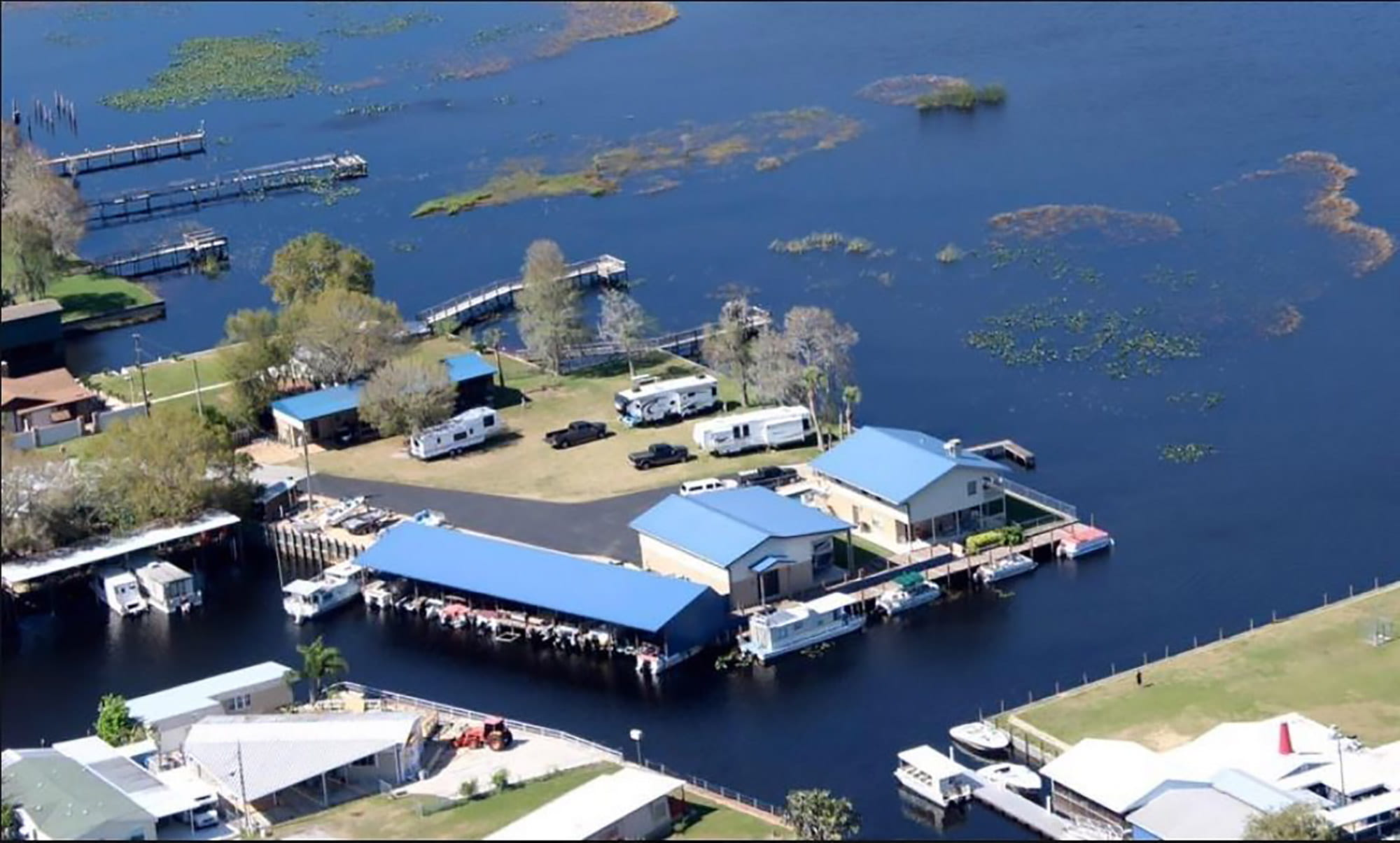 aerial view of Lake Hatchineha Resort RV Park in Haines City