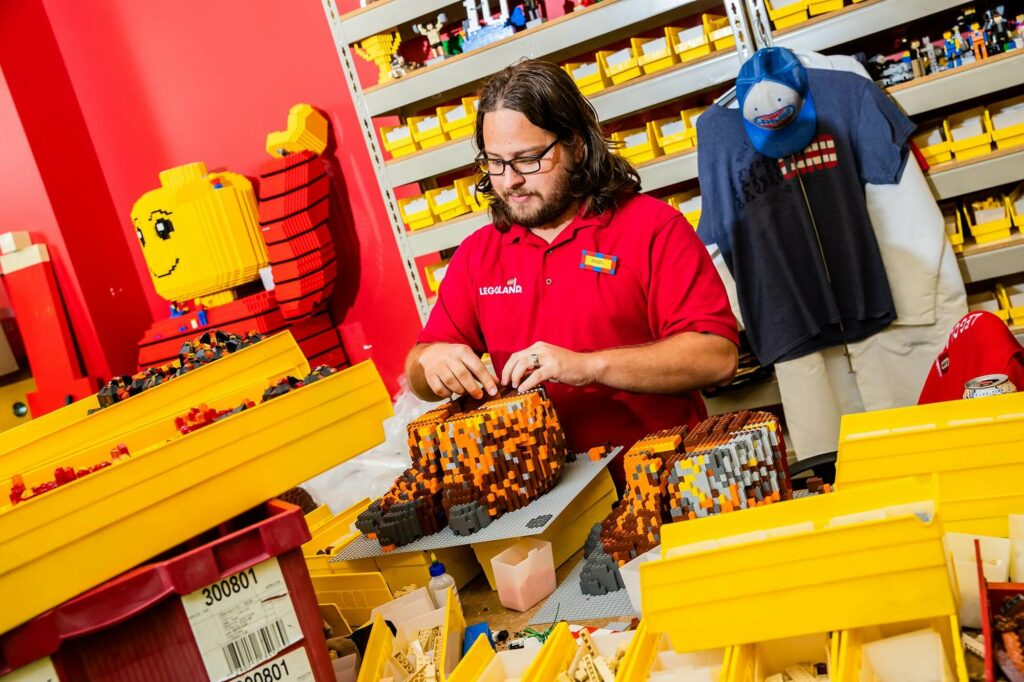 LEGOLAND Florida master model builder creating theme park lego structure