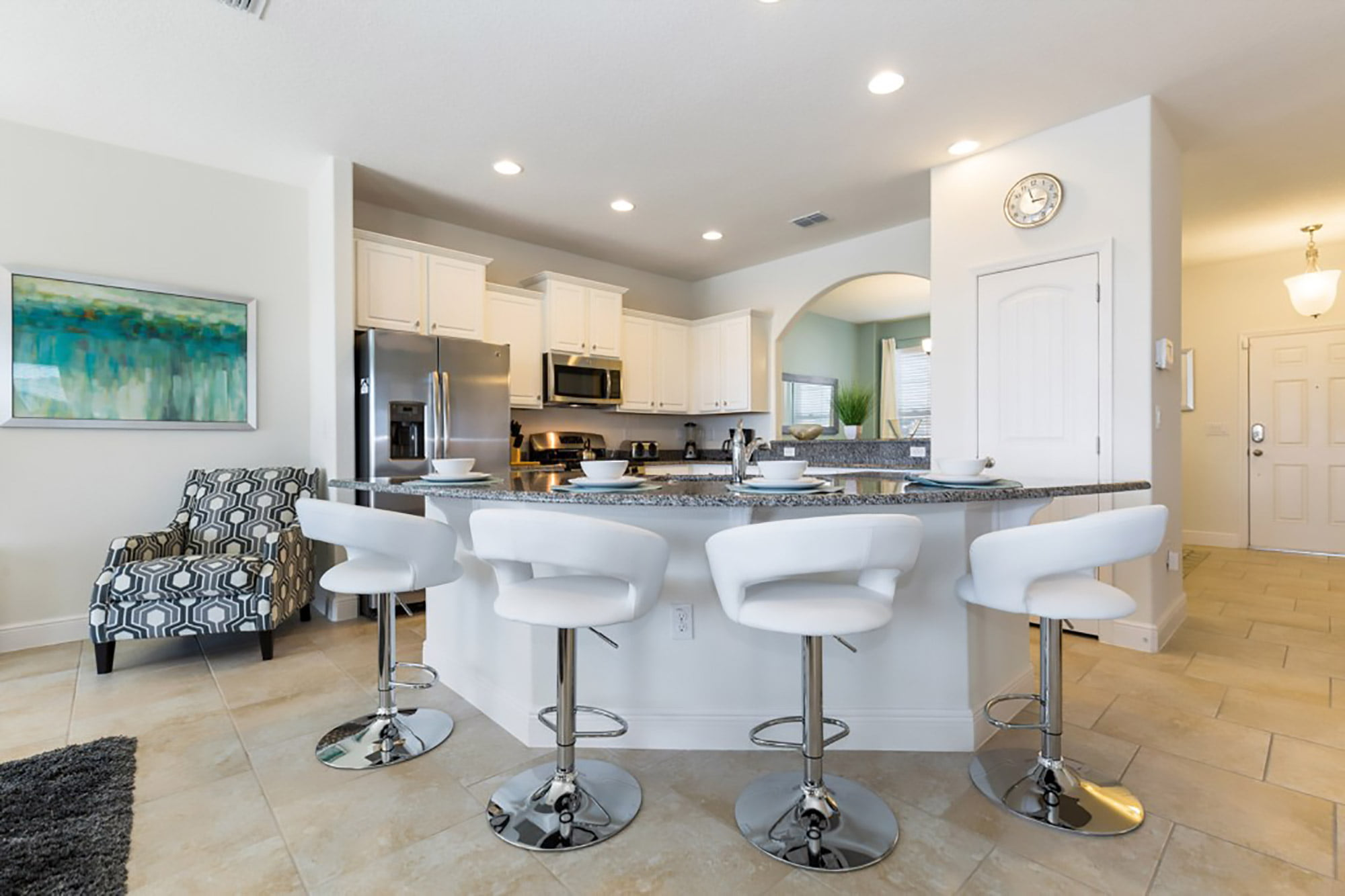 kitchen and breakfast bar area of Orlando Holiday Management home in Davenport