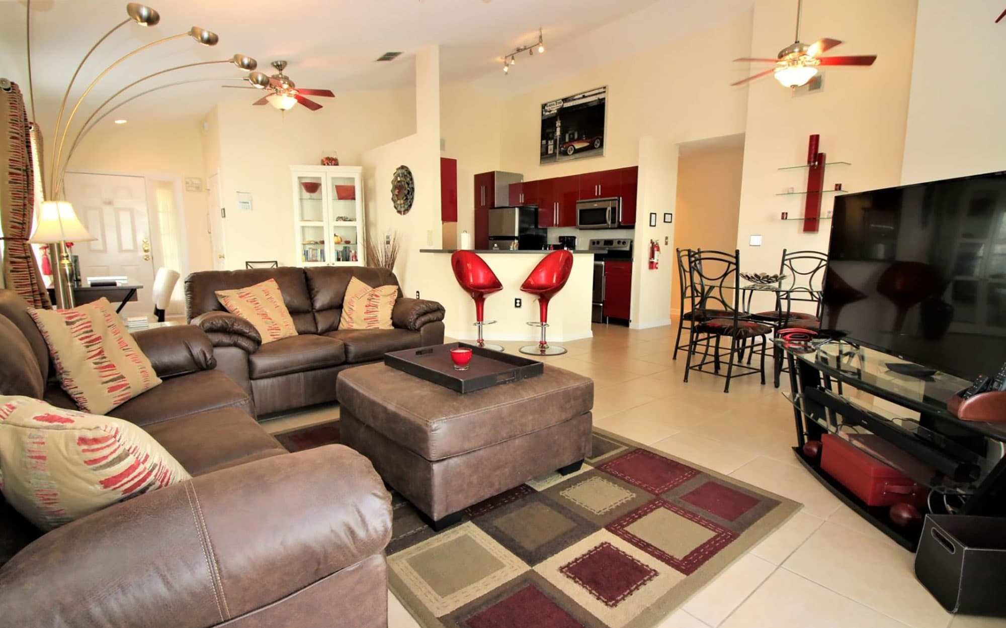 living and dining area inside a Davenport, FL vacation rental home available through Paradise Properties