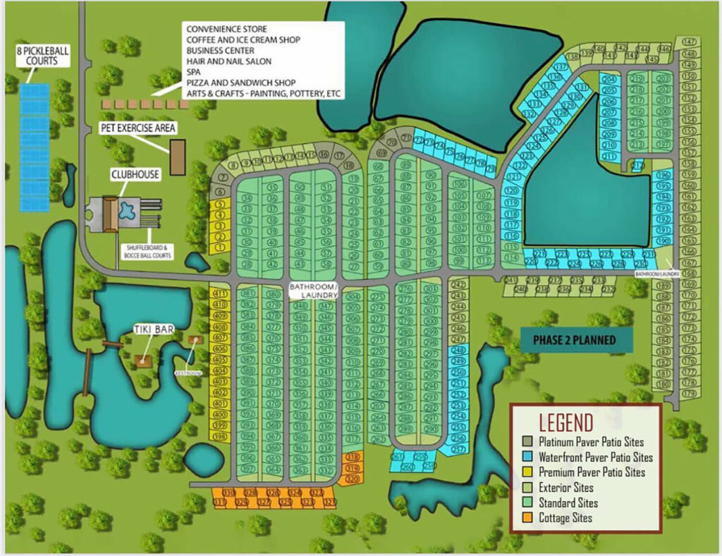 Resort at Canopy Oaks in Lake Wales, FL Phase 1 map of RV sites and amenities