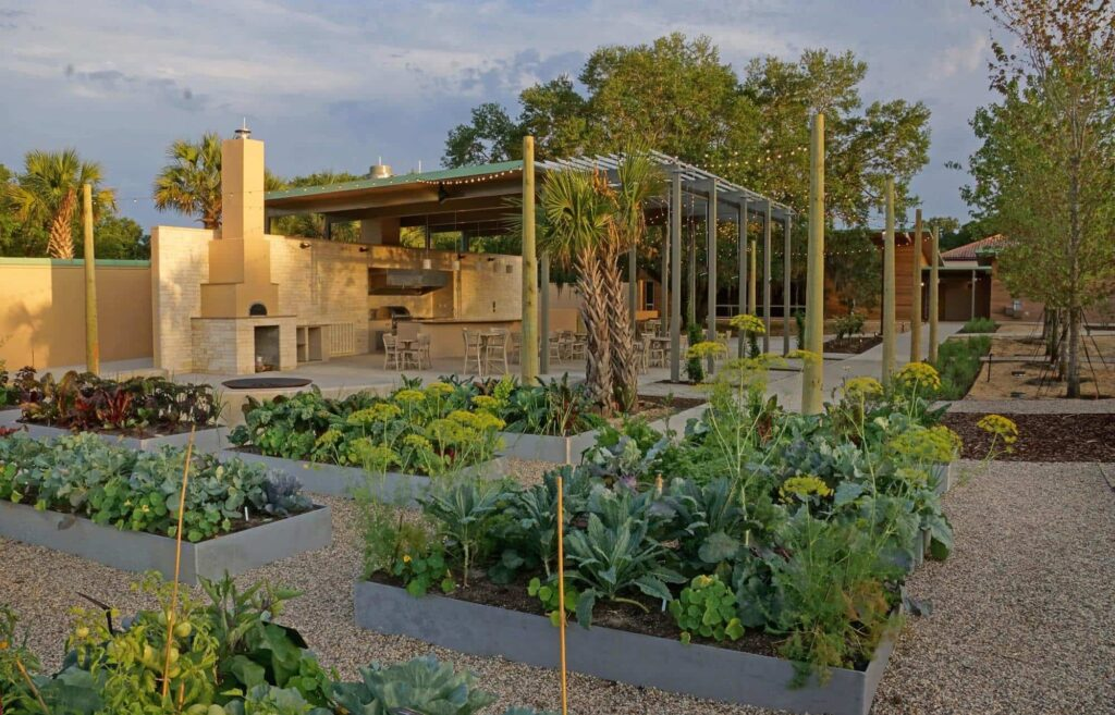 Outdoor kitchen and gardens beds at Bok Tower Gardens in Lake Wales, FL