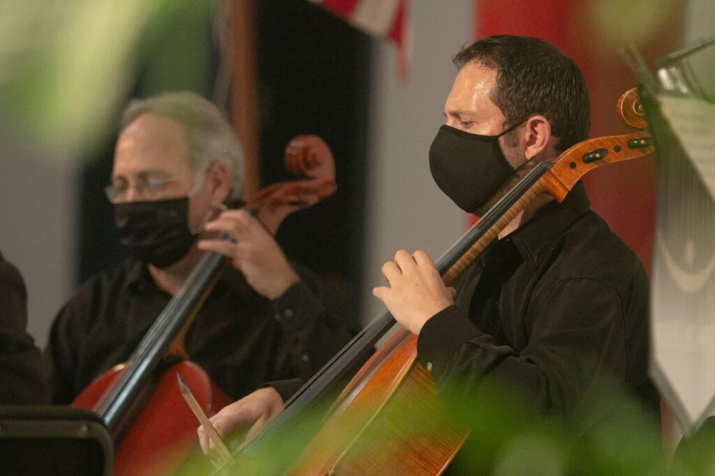 Imperial Symphony Orchestra chamber ensemble wearing masks during performance in photo for Kingdom of Sweets