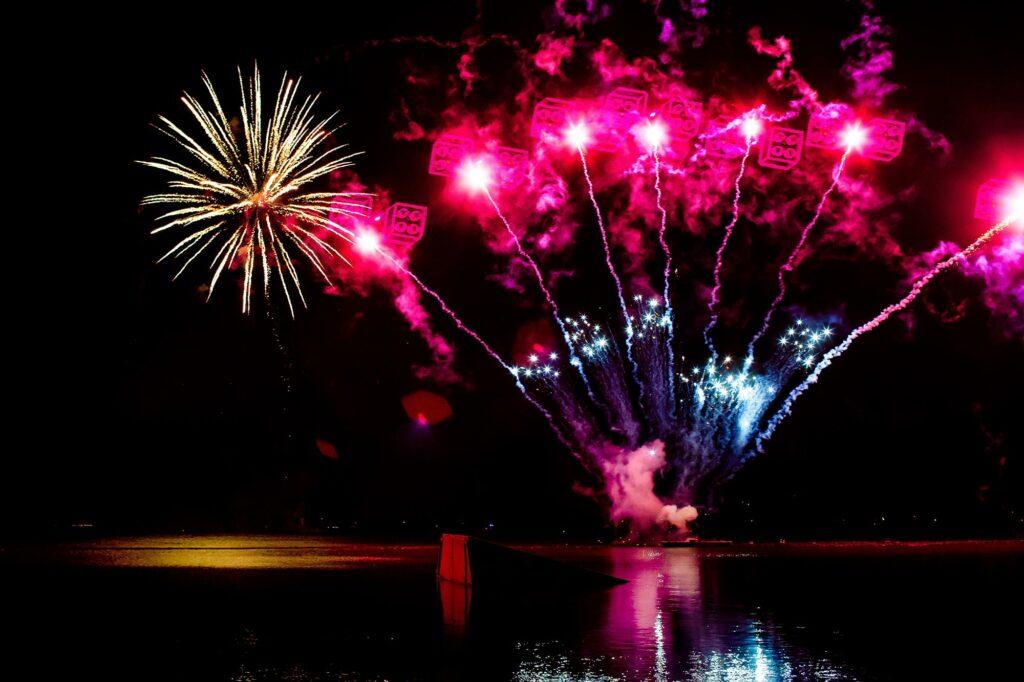 LEGO fireworks over lake at during Holidays at LEGOLAND