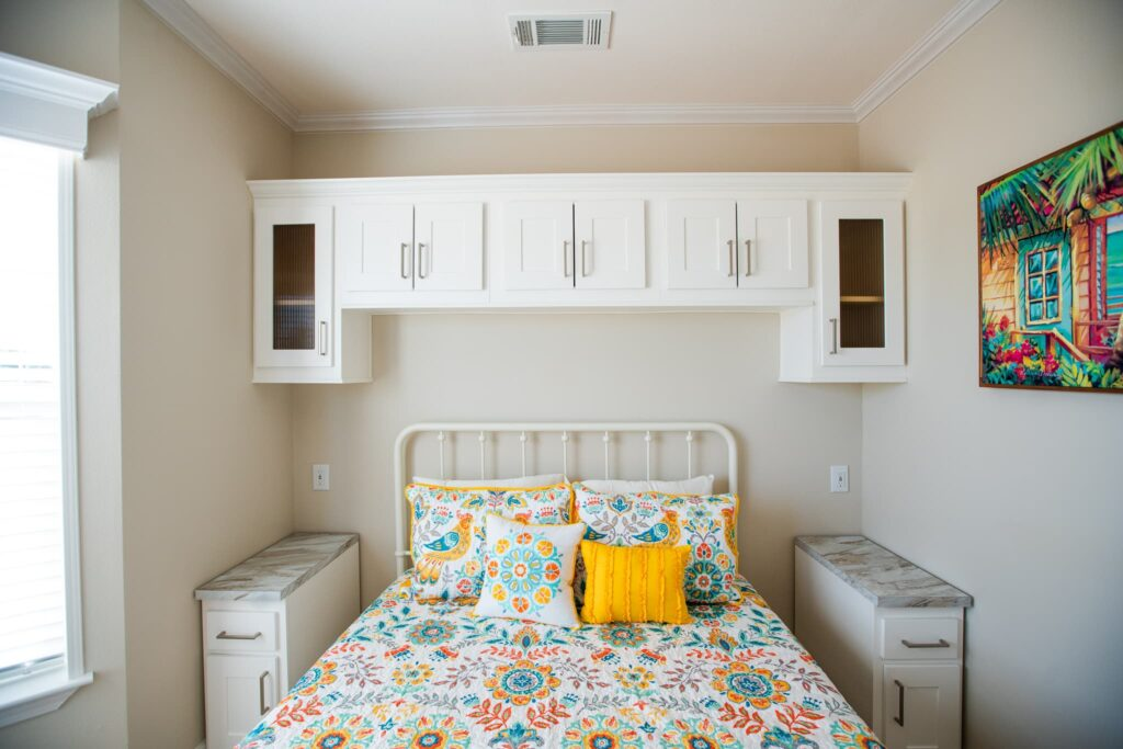 bedroom inside rental cottage at Cabana Club Resort in Auburndale FL
