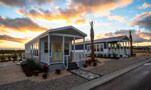 2 cottages during sunset at Cabana Club Resort in Auburndale FL