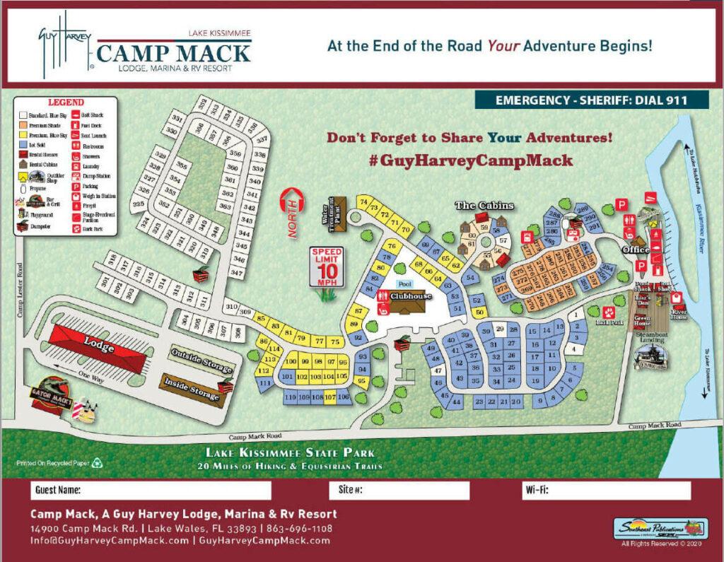 camping map for Camp Mack, a Guy Harvey Lodge, Marina & RV Resort in Lake Wales, FL