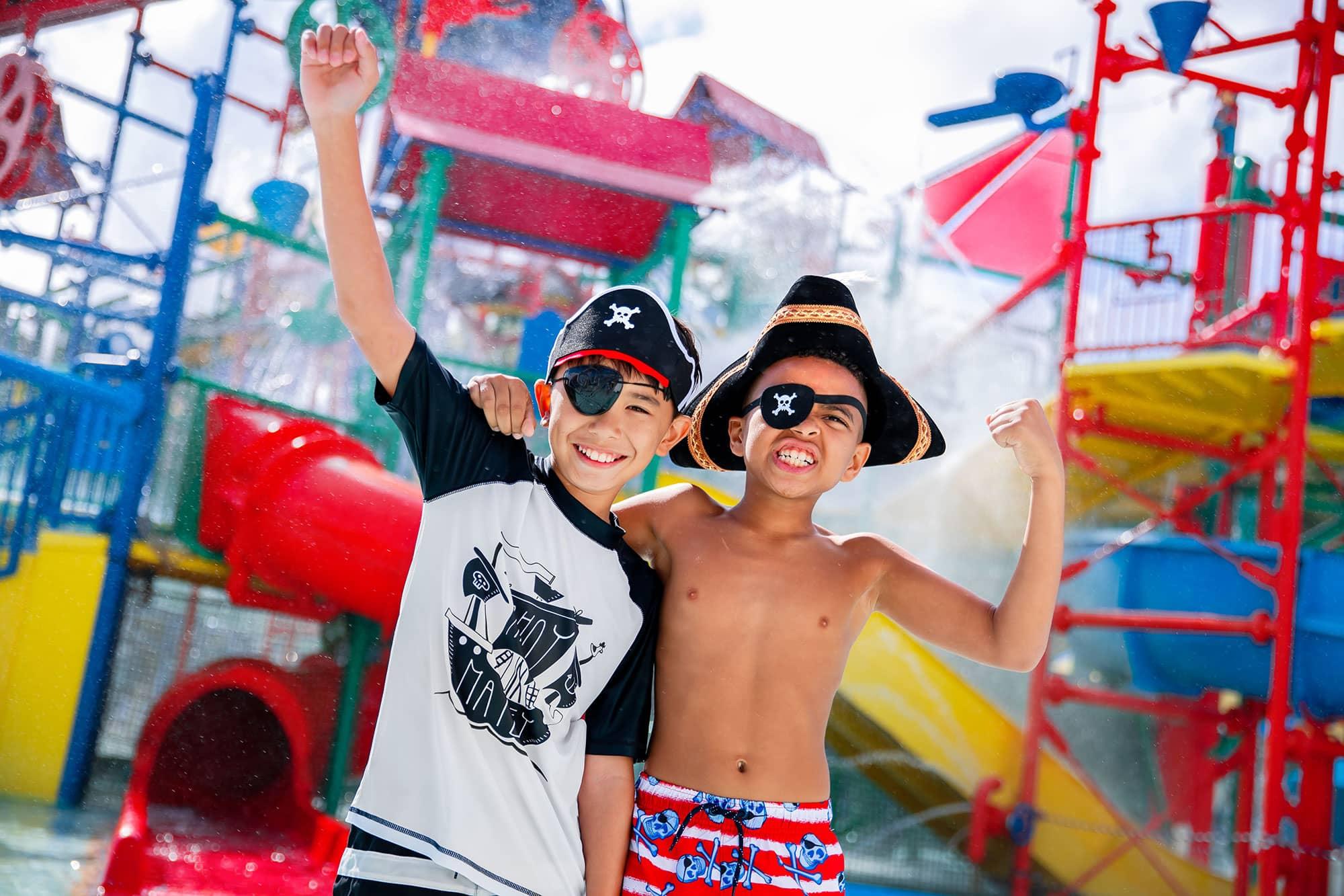 2 kids dressed as pirates at LEGOLAND Florida Water Park