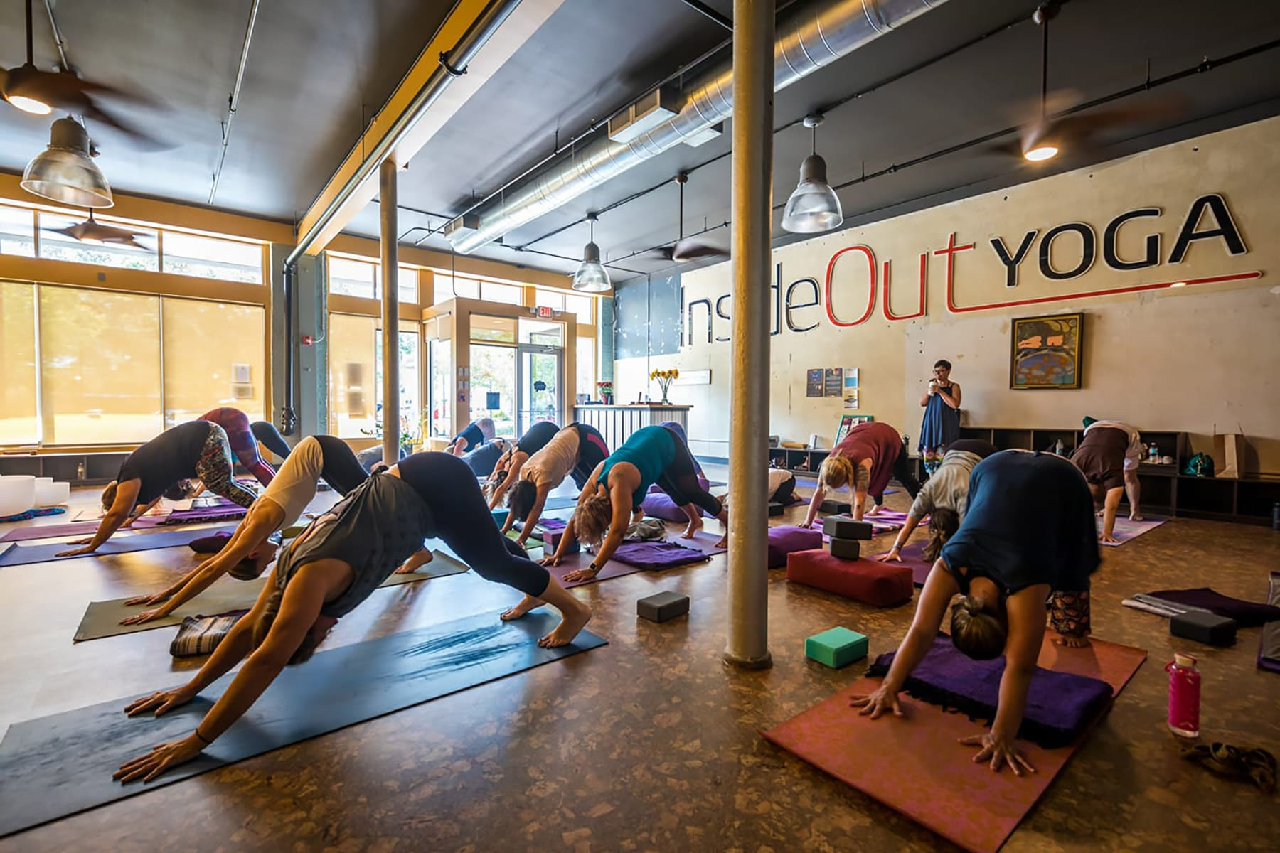 yoga class in session at Inside Out Yoga in downtown Winter Haven FL