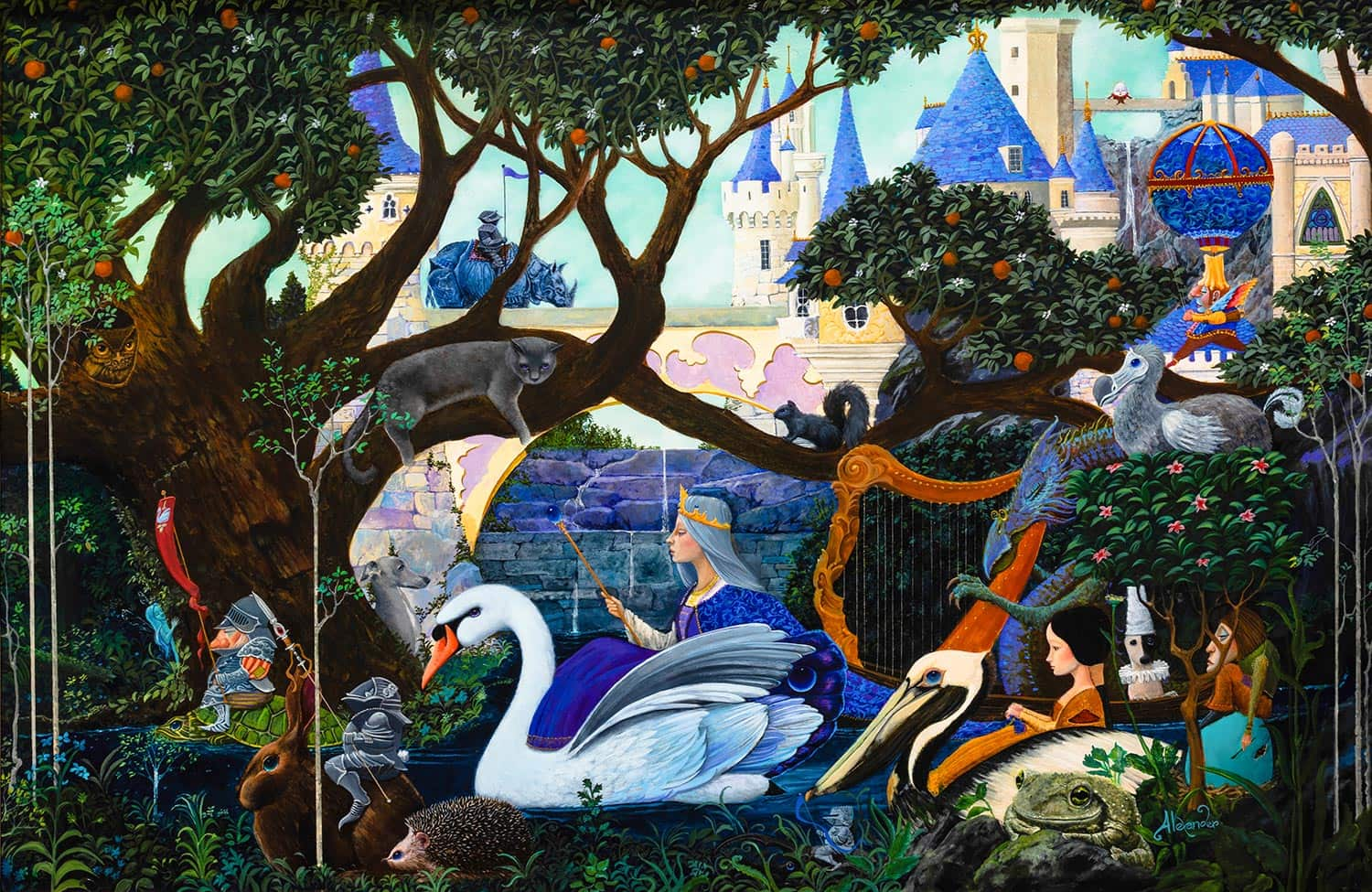 R.L. Alexander, 'Procession of the Swan Queen,' Oil on panel, 2021 Mayfaire by-the-Lake Featured Image